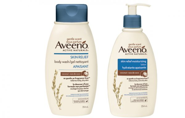 Aveeno coconut body wash and body lotion
